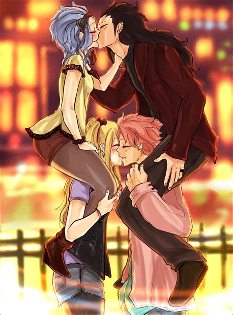 fairy tail gajeel natsu levy and lucy kiss anime