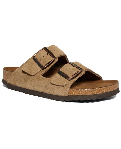 brown two sandals lyst birkenstock arizona soft footbed two band suede