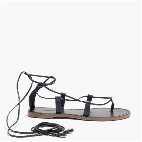 madewell lace up sandals madewell the boardwalk lace up sandal in black lyst