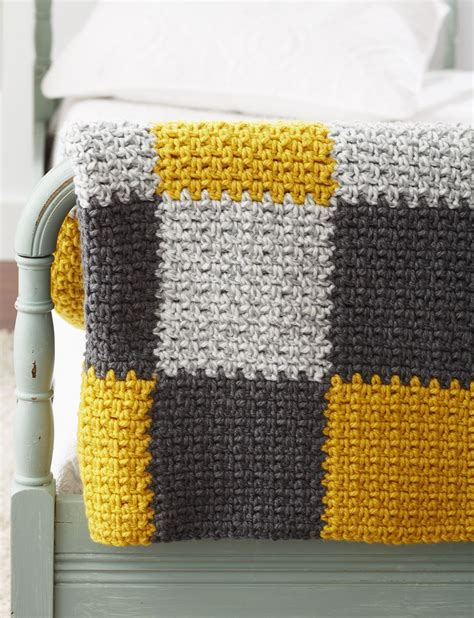 Easy Patchwork Blanket - bernat patchwork blanket crochet pattern yarnspirations