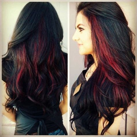 highlighted hair with brown underneath layered pictures dark hair with red peekaboo highlightsmy hair styles