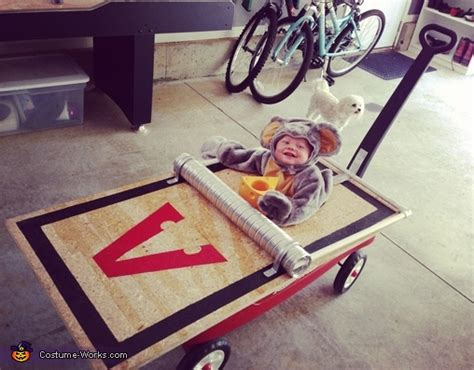 mouse caught in a mousetrap halloween costume idea for baby