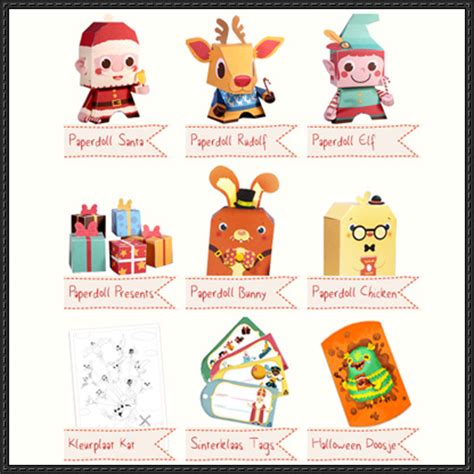 9 christmas and halloween paper toys free download