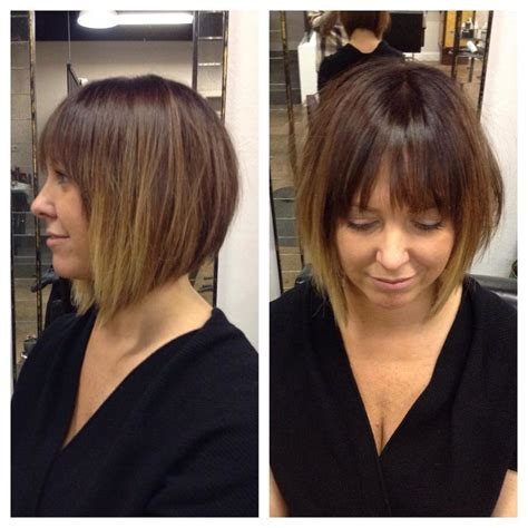 brunette hair with fringe ombre style women s short angled bob with fringe bangs and brunette ombre