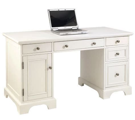 naples white desk home styles naples pedestal desk white finish qvc com