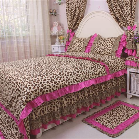 leopard bedroom set 4pcs set bedding set sexy leopard print bedding ruffles