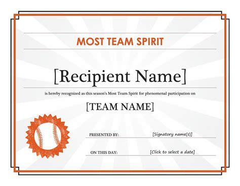 Team Spirit award certificate (editable title)   Office