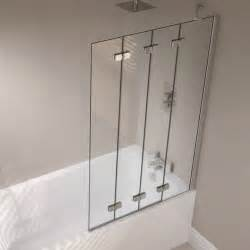 folding shower screen for bath april prestige frameless 4 panel folding bath screen