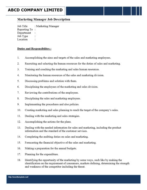 Advertising Managers Description by Free Microsoft Word Templates