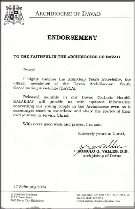 Endorsement Letter From Church abp valles endorses kalakbay youth newsletter in the service of the davao catholic herald