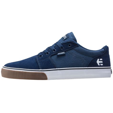 navy blue and white ls etnies barge ls mens trainers in navy white
