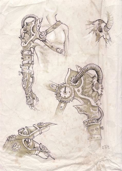 Steunk Arm Design By Zsofiadome On Deviantart Arm Designs Drawings