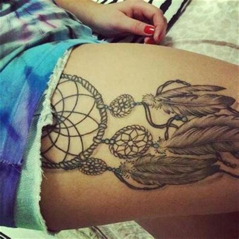 dream catcher thigh tattoo catcher thigh tattoos piercings