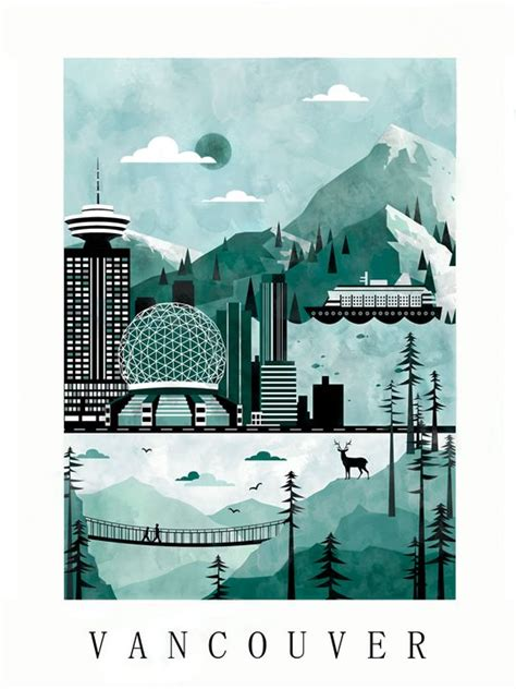 poster design vancouver vancouver city poster illustration city poster