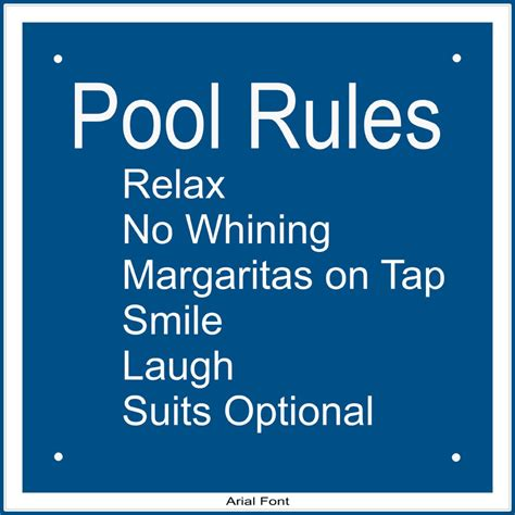 Backyard Pool Laws Personalized Pool Sign