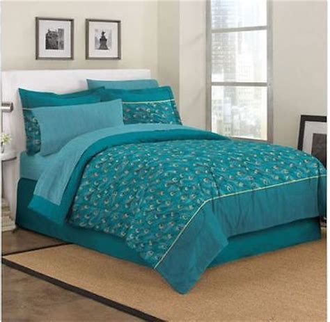 teal blue bedding king size exotic teal blue peacock feathers comforter