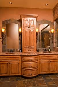 Window Treatments For Bow Window bow front vanity with slate framed mirrors rustic