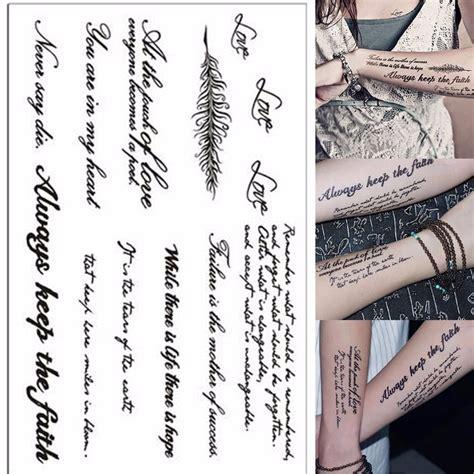 tattoo alphabet transfers temporary english word letters body art fake transfer