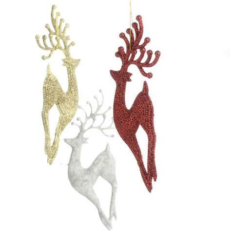 glittered reindeer ornaments christmas ornaments