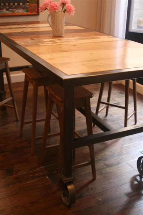 reclaimed wood pub table bar height dining table on 6 quot caster wheels with reclaimed