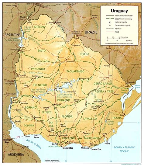 political map of uruguay large detailed relief and political map of uruguay with