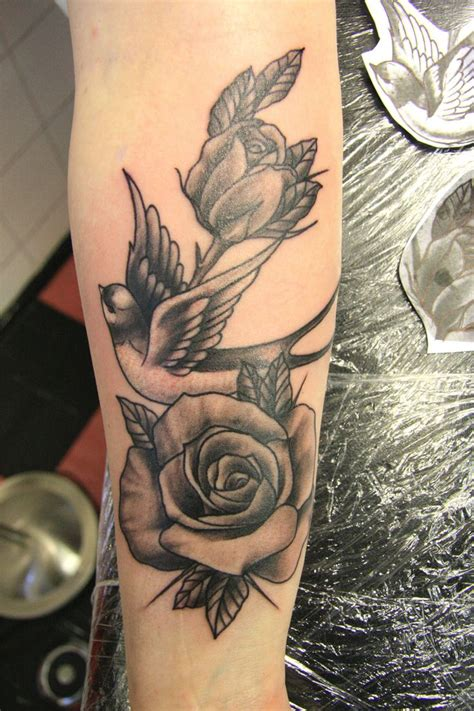 rose body tattoos black grey and roses on forearm by susy