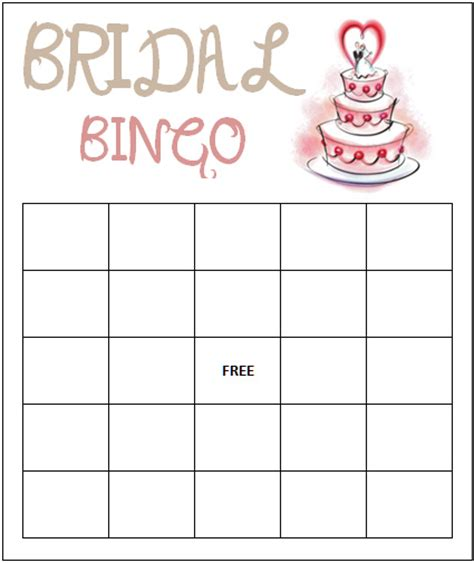 bridal shower bingo template 5 best images of free printable blank bingo template