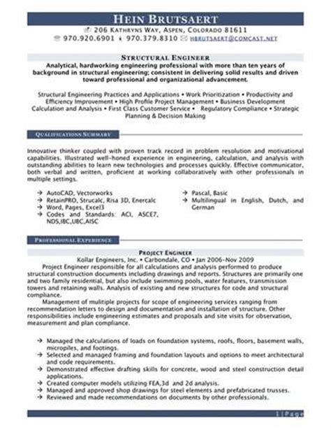 Structural Engineering Resume Template by Sle Resume For Structural Engineer Resume Ideas