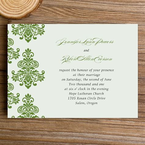 Einfache Hochzeitseinladungen by Green Damask Simple Wedding Invitations Ewi287 As Low As