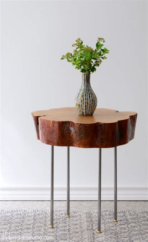 how to a table from a tree slice live edge tree slice side table with legs made of l