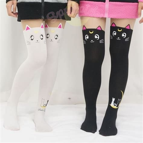 cute stockings artemis and luna sailor moon leggings geeky fashion