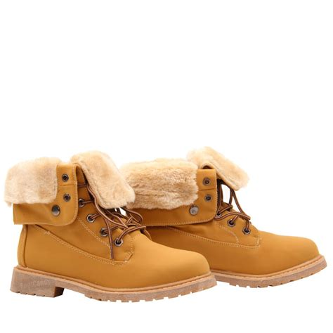 womens flat lace up fur lined combat winter ankle