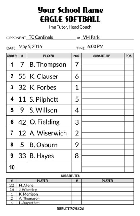 Baseball Lineup Card Template Word by Lineup Card Templates
