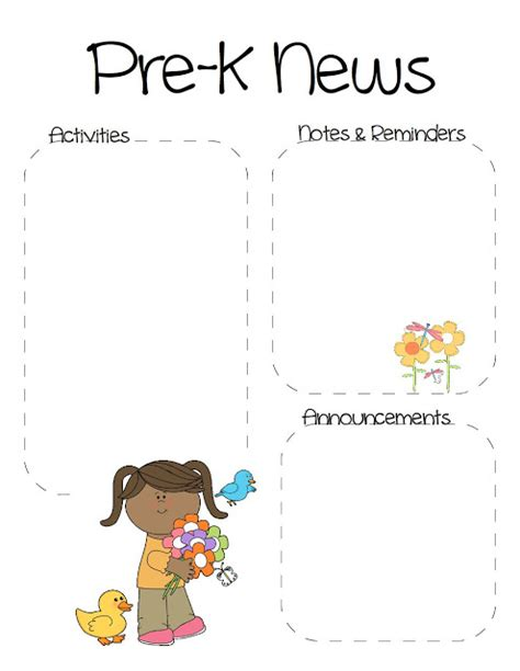 free pre k newsletter templates the crafty pre k newsletter template