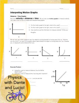 Interpreting Graphs Worksheet Answers by Interpreting Motion Graphs By Physics With Dante And Lucio