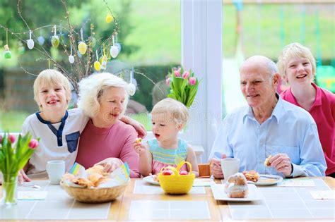 The Grandparents Book Teaching Grandmothers To Eggs by Family Enjoying Easter Breakfast Stock Image Image Of