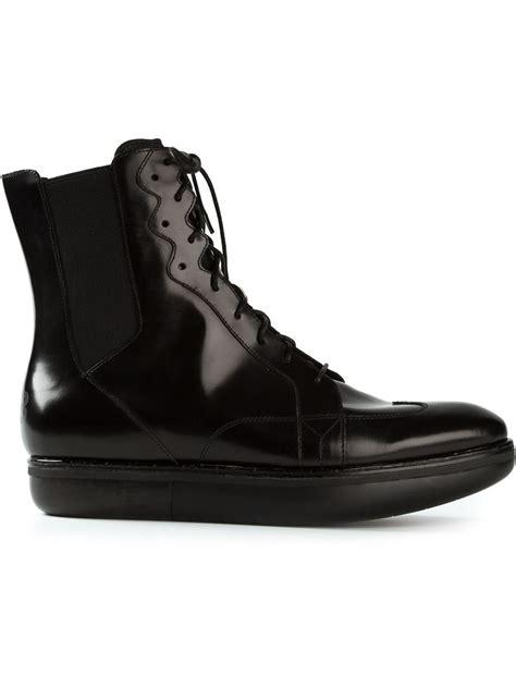 mens black platform boots lyst y 3 platform boots in black for