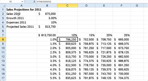 how to do a data table in excel how to create a two variable data table in excel 2010