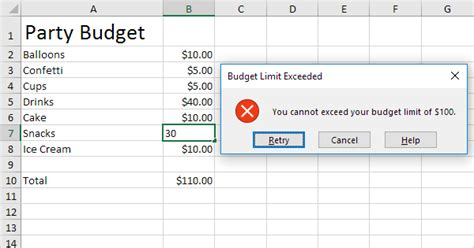 tutorial excel budget budget limit in excel easy excel tutorial