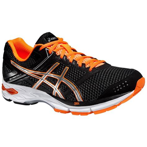 orange and black running shoes asics mens gel 7 running shoes black orange