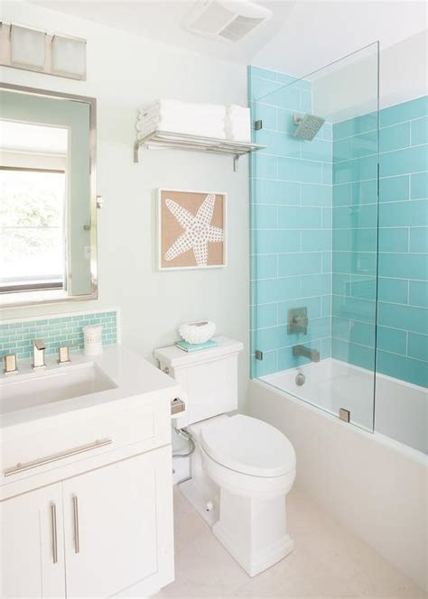 coastal bathroom with aqua blue subway tile agk design turquoise glass shower tiles with glass partition
