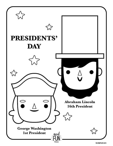 nod printable coloring page presidents day honest to nod