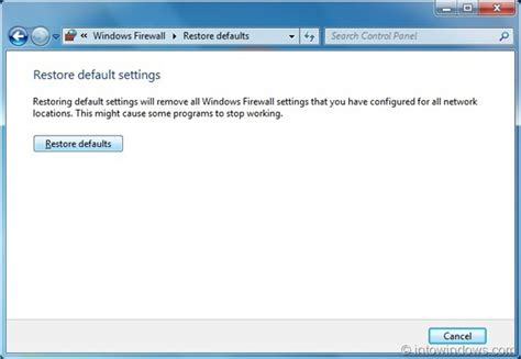 default setter how to restore windows 7 firewall to default settings