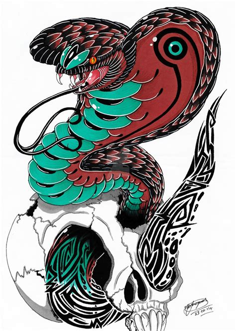 king cobra tribal tattoo tribal king cobra design coloured by
