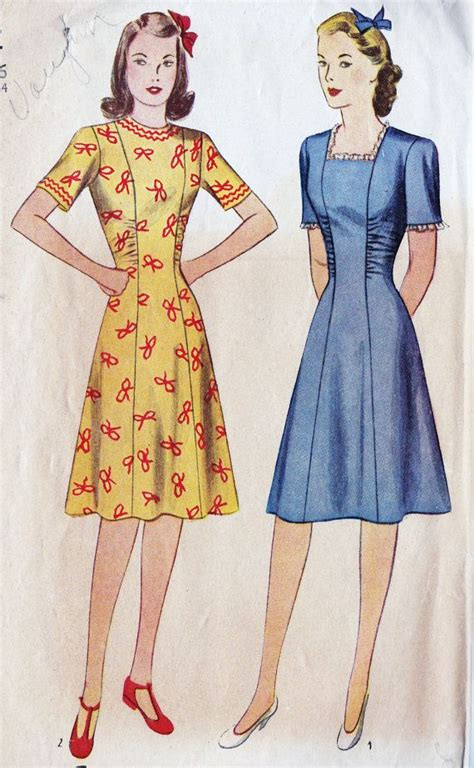 Pattern For Princess Line Dress | 1940s misses princess line dress vintage fashion 2