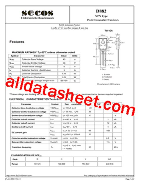 transistor d882 y datasheet d882 datasheet pdf secos halbleitertechnologie gmbh