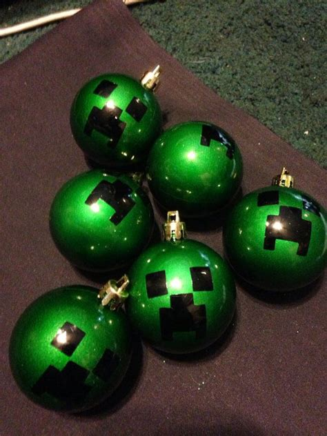 set of 6 mine craft creeper christmas ornaments on etsy
