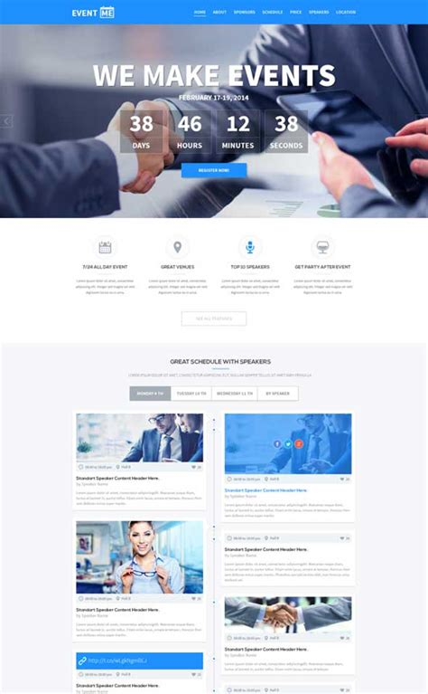 event web page design eventme psd one page event manager designssave com