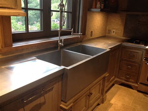Farmhouse Kitchen Countertops by Zinc Sink And Countertop Farmhouse Kitchen Other