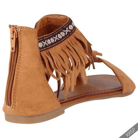 fringe boot sandals boho tassel zip back ankle cuff boots flat sandals
